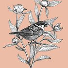 ink sparrow and peonies on terracotta background by EllenLambrichts