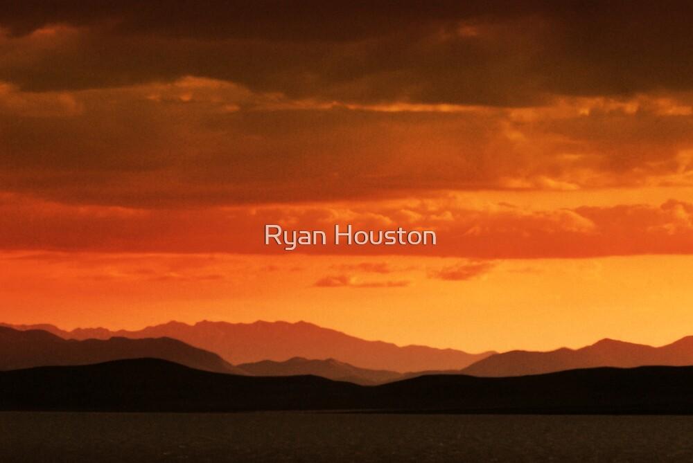 Orange Sunset Over Utah Lake by Ryan Houston