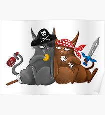Some mighty fine Seafaring Pirate cats Poster