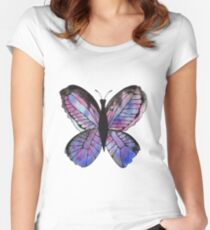 Whimsical Butterfly - Blue Women's Fitted Scoop T-Shirt