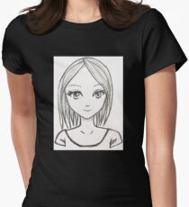 Manga Girl pencil drawing Womens Fitted T-Shirt