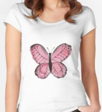 Whimsical Butterfly - Pink Women's Fitted Scoop T-Shirt
