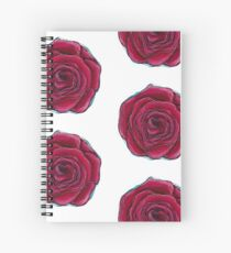 Red rose acrylic painting repeated pattern Spiral Notebook