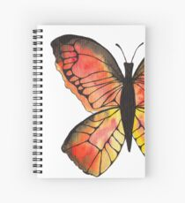 Whimsical Butterfly - Orange Spiral Notebook