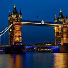 Tower Bridge during the blue hour, London by Erik Schlogl