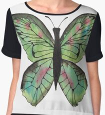 Whimsical Butterfly - Green Women's Chiffon Top