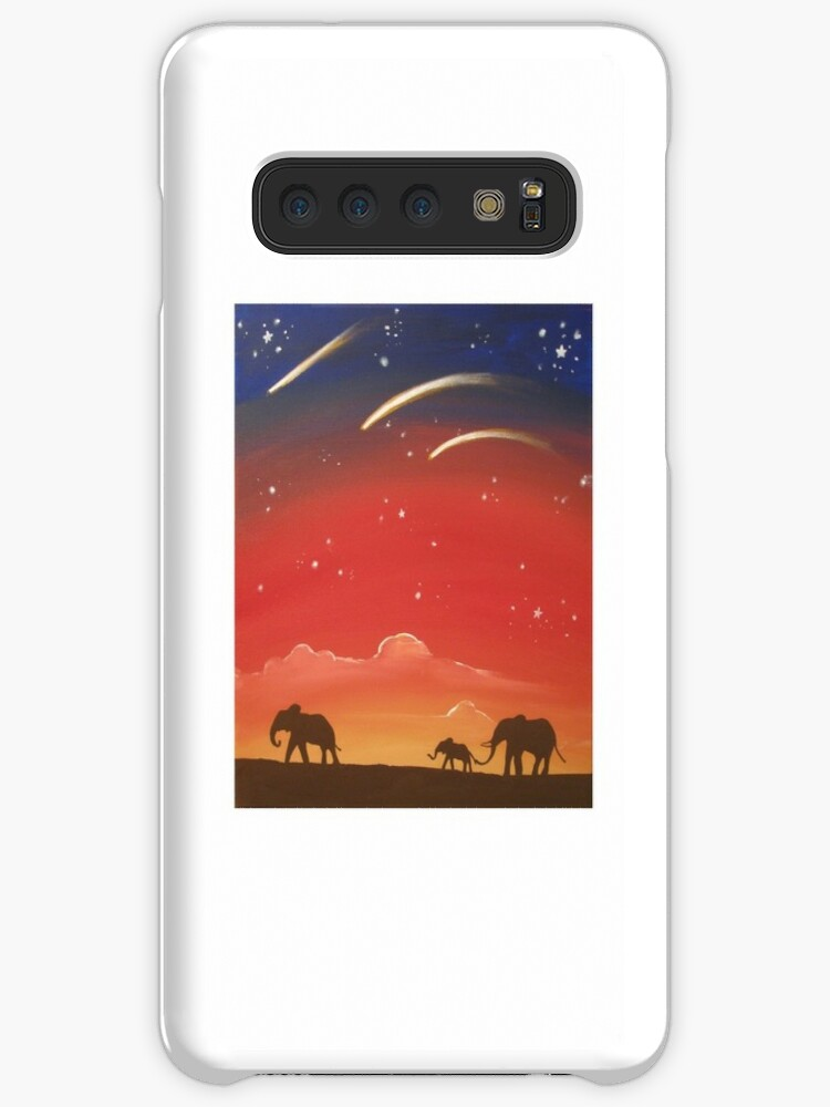 Elephants At Sunset Wall Art Original Print Painting Elephant Decor Wall Art Starry Night Tree Of Life Case Skin For Samsung Galaxy By