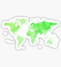 World Map Green Sticker