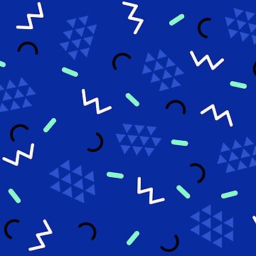 Midnight blue 90s geometric memphis pattern  by natalietyler