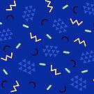 Midnight blue 90s geometric memphis pattern  by Natalie Tyler