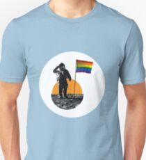 Rainbow Flag on the Moon Unisex T-Shirt