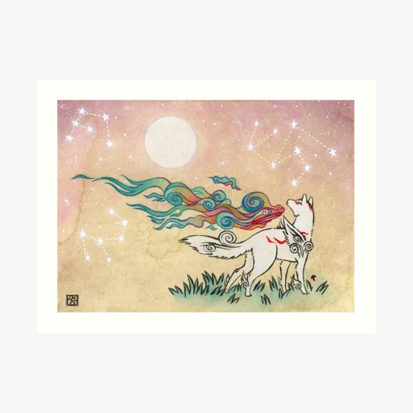 Amaterasu Wolf Art Print