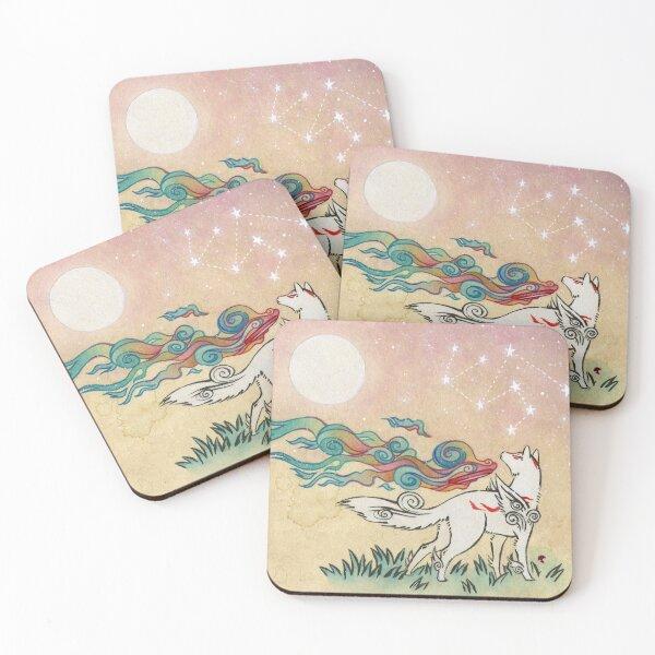 Amaterasu Wolf Coasters (Set of 4)
