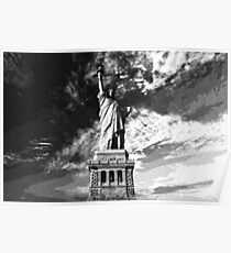Dotted Pencil Drawing of Statue Of Liberty in the Usa by Adam Asar Poster