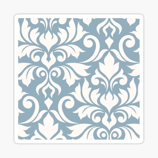 Flourish Damask Art I Cream on Blue Sticker