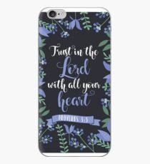 Blue Floral Flower Print Framed Background Proverbs 3:5 Bible Verse iPhone Case