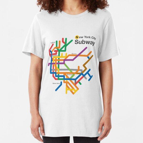NYC Subway diagram Slim Fit T-Shirt