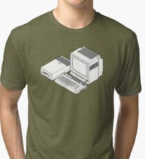 Commodore 64 with a floppy drive and CRT monitor Tri-blend T-Shirt