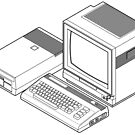 Commodore 64 with a floppy drive and CRT monitor by Zern Liew