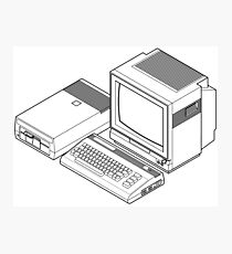 Commodore 64 with a floppy drive and CRT monitor Photographic Print