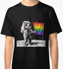Gay Pride Rainbow Flag On The Moon Classic T-Shirt