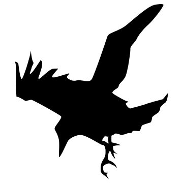 RAVEN, CROW, Corvus, Bird, Swoop, silhouette by TOMSREDBUBBLE