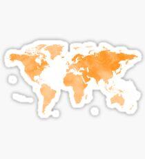 World Map Orange Sticker
