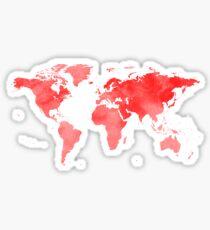 World Map Red Sticker