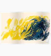 Abstract - Yellow & Blue Poster