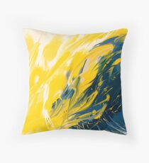 Abstract - Yellow & Blue Throw Pillow
