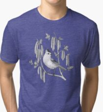 tufted titmouse on catskins on green background Tri-blend T-Shirt