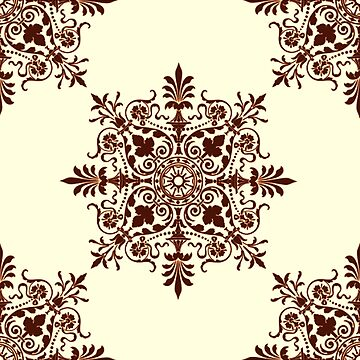 Victorian, Tile, Ornament, Design, cream and brown by TOMSREDBUBBLE