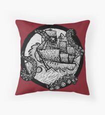 Kraken on Board Dot Work Throw Pillow
