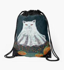 Spooky Ghost Cat in a Pumpkin Patch Drawstring Bag