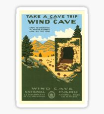 Vintage Travel Poster – Wind Cave National Park Sticker