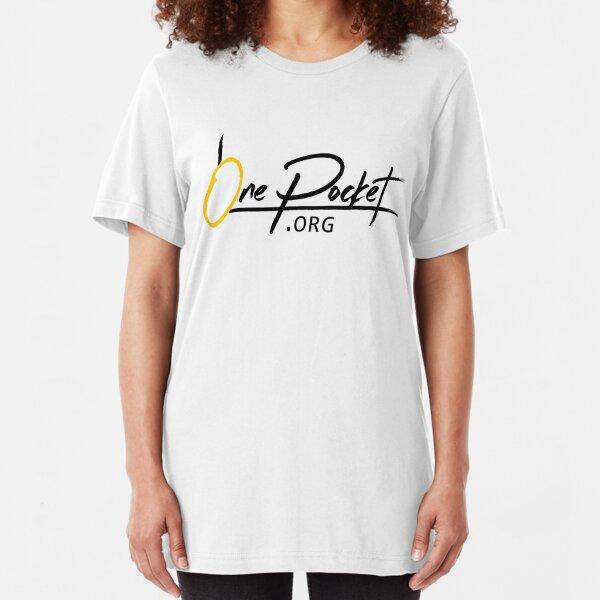 OnePocket.org Logo on White Background Slim Fit T-Shirt