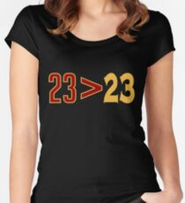 LeBron Greater Than Draymond Women's Fitted Scoop T-Shirt