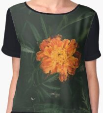 Orange Flower with Leaves Chiffon Top