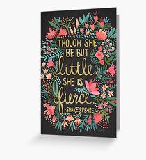 Little & Fierce on Charcoal Greeting Card