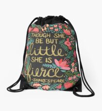Little & Fierce on Charcoal Drawstring Bag