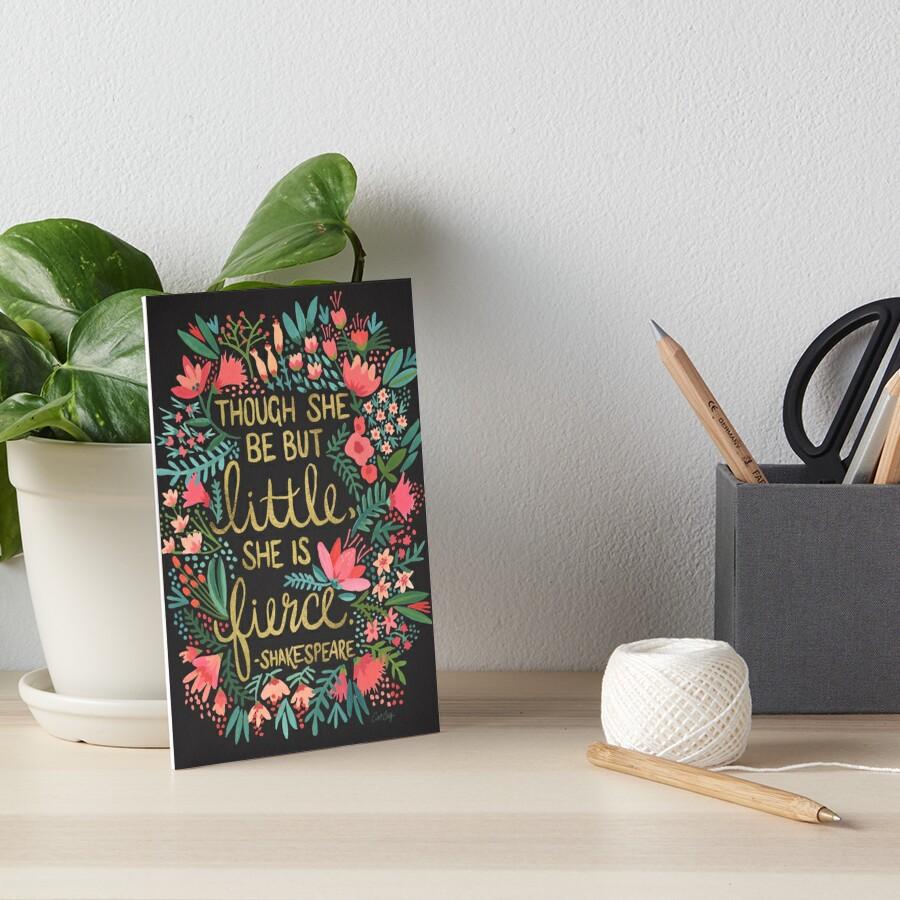 Little & Fierce on Charcoal Art Board Print