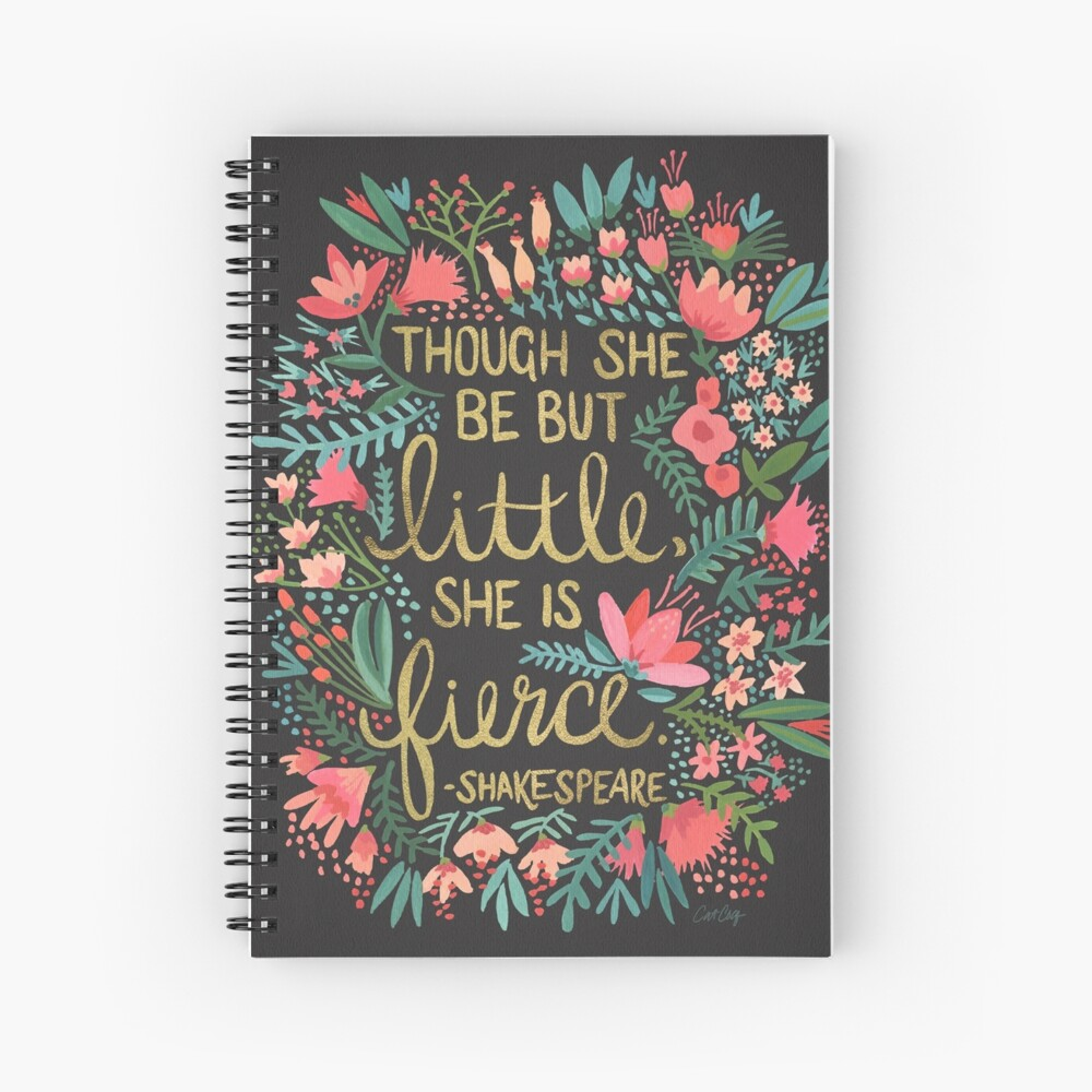 Little & Fierce on Charcoal Spiral Notebook
