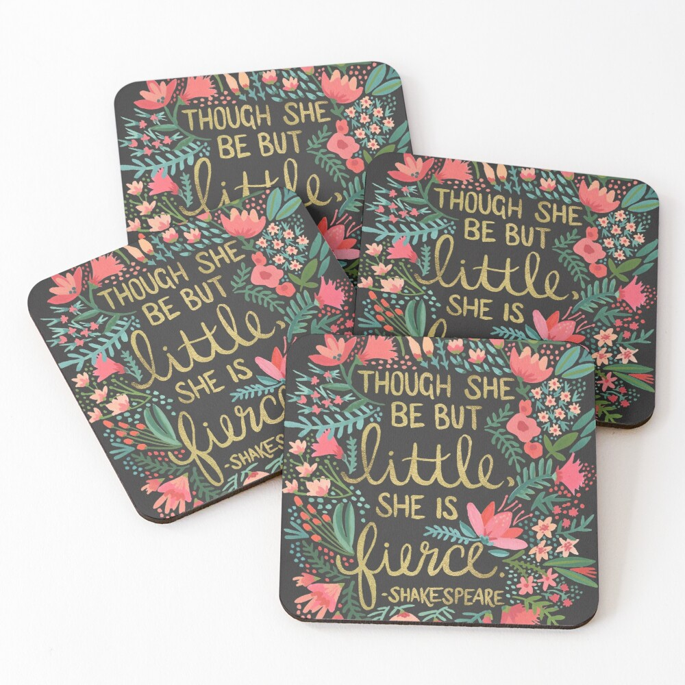 Little & Fierce on Charcoal Coasters (Set of 4)