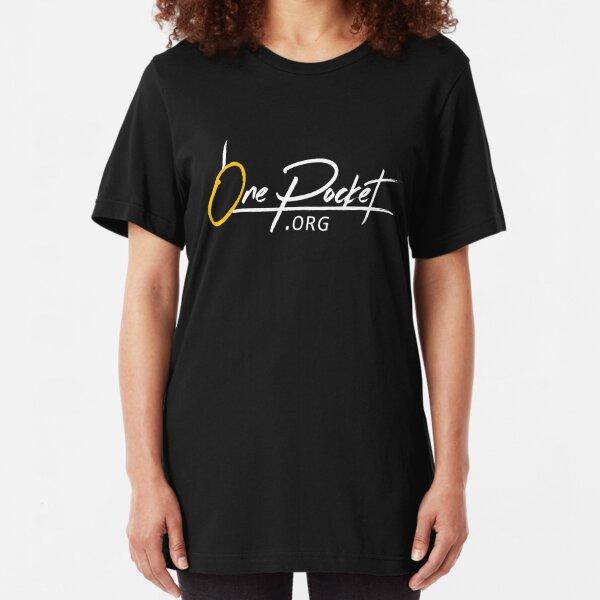 OnePocket.org Logo on Black Background Slim Fit T-Shirt