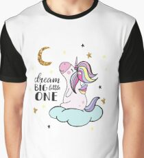 Cute unicorn on the cloud with stars and moon. Graphic T-Shirt