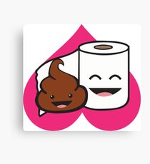 Poop And Toilet Paper Roll - Love Heart Canvas Print