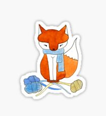 Orange Fox & Yarn Sticker