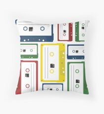 Retro Cassette Tapes Collage Throw Pillow