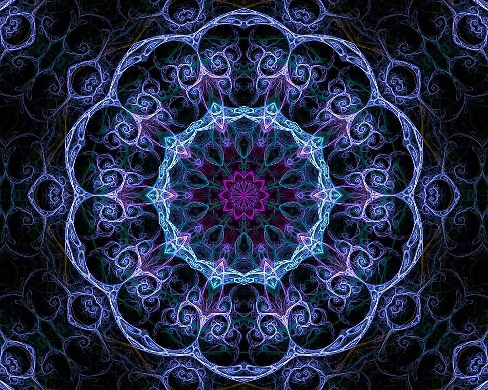 Blue & Pink Floral Fractal Pattern by HavenDesign