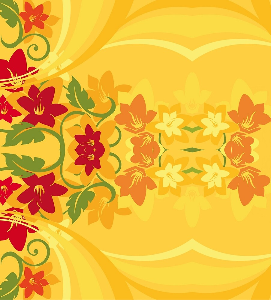 Sunny Summer Yellow Floral Pattern by HavenDesign